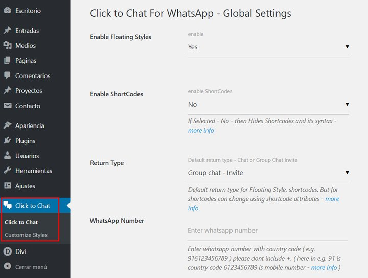 configurar whatsapp en wordpress