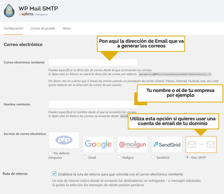 ajustes wp mail smtp