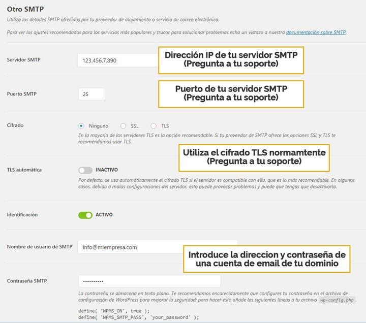 configurar smtp para formularios en wordpress