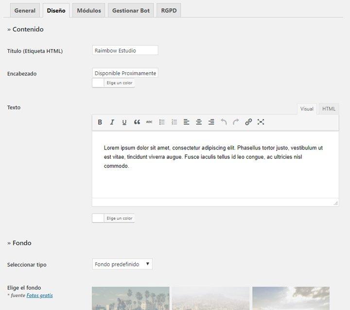 crear el diseño de la página de mantenimiento