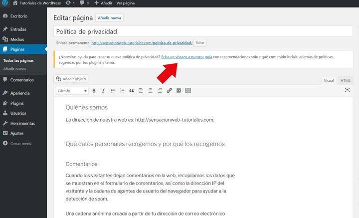 ejemplo de página de privacidad