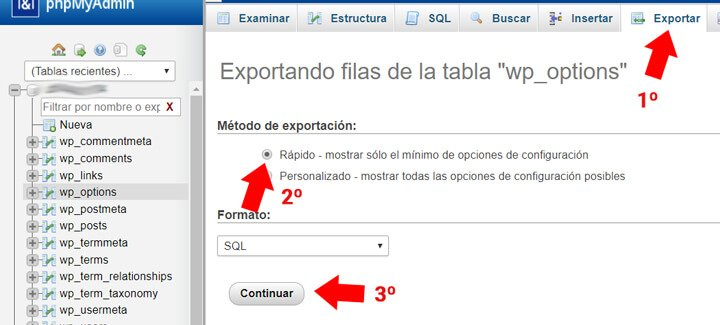 exportar base de datos de wordpress
