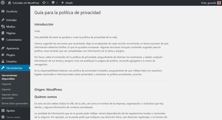 guia de política de privacidad