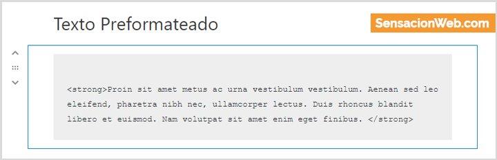 texto preformateado en gutenberg