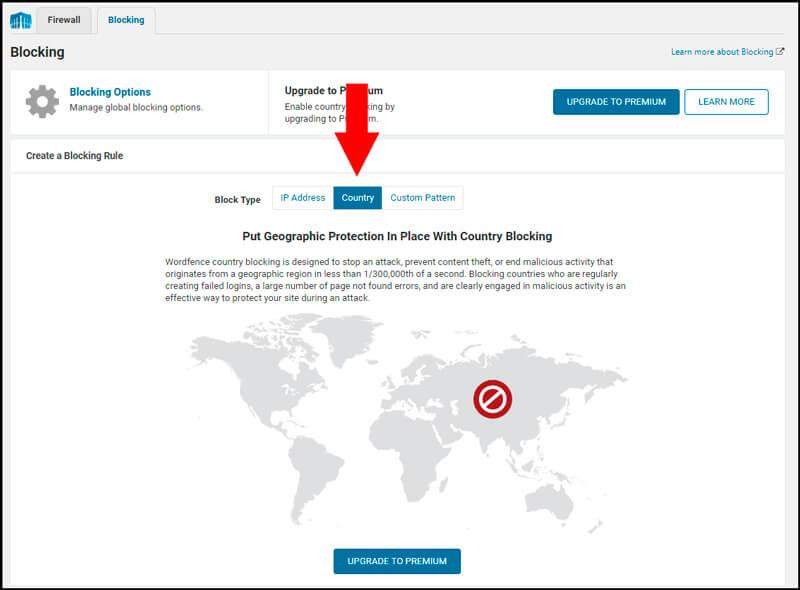 bloqueo de países en wordpress con wordfence