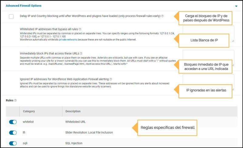 opciones avanzadas firewall wordfence