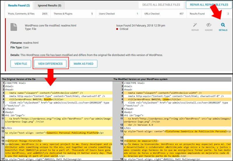 ver cambios de archivos en wordpress con wordfence